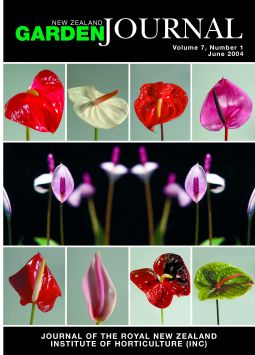Front Cover: Magnificent anthuriums, which can now be found gracing supermarkets as well as florists' shops. These wonderful plants, in the genus Anthurium, have recently been the focus of research on flower colour carried out by Vern Collette. The cultivar names are (top row from the left) 'Lido', 'Acropolis', 'Atlanta', and 'Panther'; (bottom row from the left) 'Altar', 'Montana' (an A. amnicola hybrid), 'Butterfly', and 'Meadow'; (centre) A. amnicola.