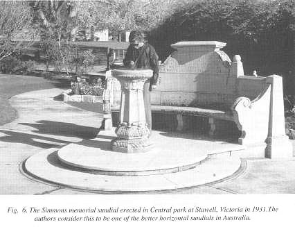Fig. 6. The Simmons memorial sundial erected in Central park at Stawell, Victoria in 1931