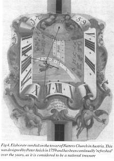 Fig 4. Elaborate sundial on the tower of Natters Church in Austria